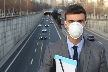 Man wearing a breathing mask in a polluted world