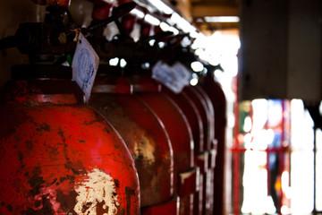 Red gas tanks
