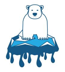 polar bear on melted ice icon over white background, blue shading design. vector illustration