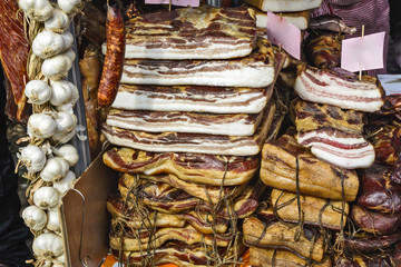 Homemade smoked bacon and garlic