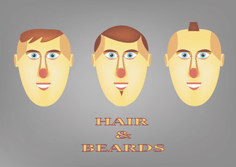 hair and beards ,shapes and styling.colorful illustration in Jpeg