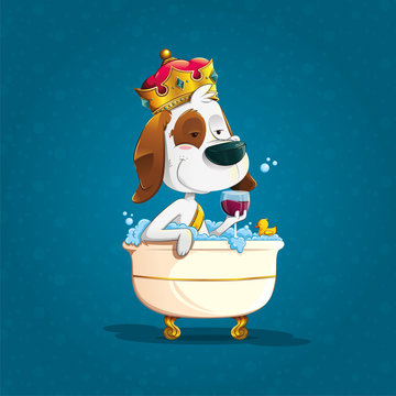 cute elegant dog bathing with crown in an old bathtub with soapy foam holding a glass of wine accompanied by a rubber duck on blue bubble background