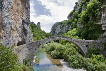 Kokkori arch stone bridge landmark, Zagoria, Greece