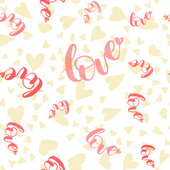 Seamless pattern with hearts and Love word. Tender pattern on the white background. Hand drawn elements
