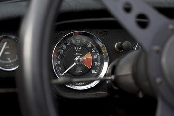 Speedometer on an old sports car