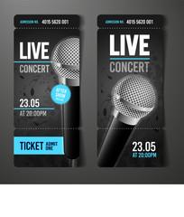 Vektor Illustration Konzert Festival Party Event Ticket Vorlage mit Grunge Effekten