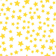 Seamless pattern with little stars. Different sizes. Yellow stars on the white background.