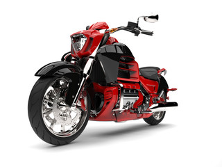 Raging red modern chopper motorcycle - epic shot
