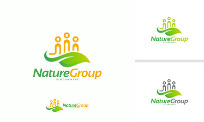 Nature Group logo designs concept vector, Ecology logo, People and Leaf logo template vector