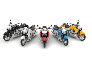 Modern chopper bikes in red, blue, yellow, black and white - top down shot