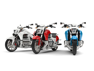 Cool shopper bikes in red, white and blue