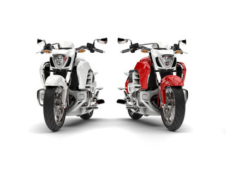 Awesome red and white chopper bikes