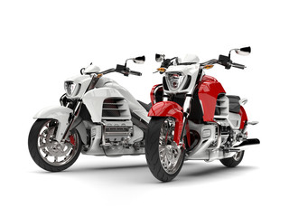 Awesome red and white chopper bikes - beauty shot