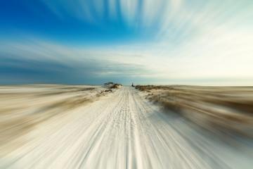 Dunes beach landscape with motion blur