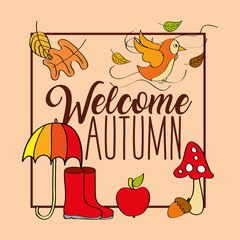 welcome autumn season boot umbrella bird leaves vector illustration