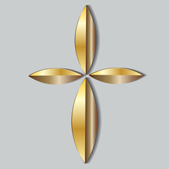 Gold Christian Cross Icon Symbol Logo