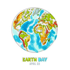 Vector doodle hand drawn isolated illustration of Earth planet. Happy Earth day card. Environmental, ecology, nature protection concept.