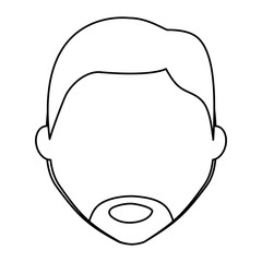 avatar man face with beard icon over white background, vector illustration