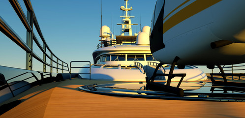 Extremeley detailed and realistic 3D illustration of a luxury Super Yacht