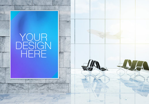 Advertisement Poster Mockup in 3D Rendering Airport Terminal