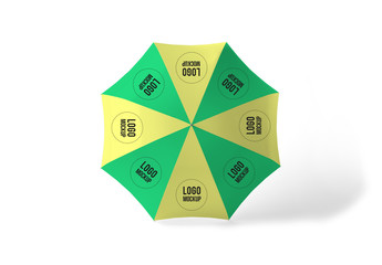 Top View Striped Umbrella Mockup