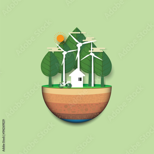 """Environmental Concept Earthfriendly Landscapes: """"Green Earth Of Eco Friendly Living And Urban Forest"""