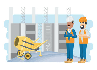 Under construction zone with engineers and concrete mixer  over background, colorful design vector illustration