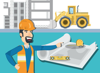 Cartoon engineer with tools and blueprints over under construction zone and truck, vector illustration