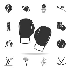 silhouette of boxing glove icon. Detailed set of athletes and accessories icons. Premium quality graphic design. One of the collection icons for websites, web design, mobile app