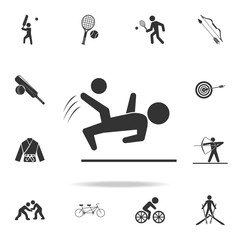 Soccer player hit the ball icon. Detailed set of athletes and accessories icons. Premium quality graphic design. One of the collection icons for websites, web design, mobile app