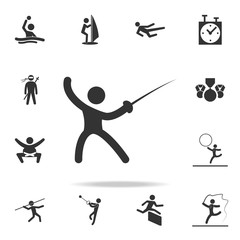 fencing icon. Detailed set of athletes and accessories icons. Premium quality graphic design. One of the collection icons for websites, web design, mobile app