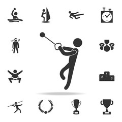Hammer throw icon. Detailed set of athletes and accessories icons. Premium quality graphic design. One of the collection icons for websites, web design, mobile app