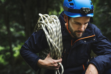 Man with climbing rope Wall mural