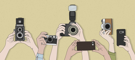 Illustration of people clicking pictures from devices