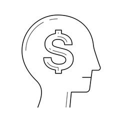Rich brain in the head vector line icon isolated on white background. Smart head with dollar symbol line icon for infographic, website or app.
