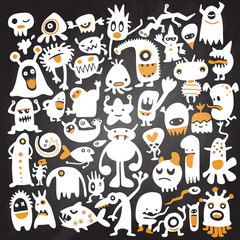 hand drawn black monster silhouettes. vector illustration. Monst