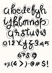 Vector handwritten brush script. Luxury letters isolated on white background.