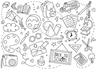 Back to School poster with doodles,Good for textile fabric design, wrapping paper and website wallpapers