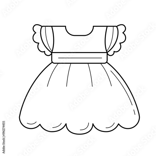 bdbd7b0a19d7 Child dress vector line icon isolated on white background. Dress for ...