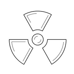 Radioactive sign vector line icon isolated on white background. Propeller sign symbolizing radioactive pollution line icon for infographic, website or app.