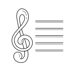 Music note vector line icon isolated on white background. Music sign - treble clef line icon for infographic, website or app.