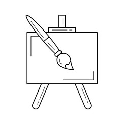 Easel vector line icon isolated on white background. Artistic equipment - empty artist canvas on easel and paint brush line icon for infographic, website or app.
