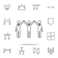 three with arms raised icon. Detailed set of team work outline icons. Premium quality graphic design icon. One of the collection icons for websites, web design, mobile app