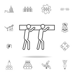 team carring heaviness icon. Detailed set of team work outline icons. Premium quality graphic design icon. One of the collection icons for websites, web design, mobile app