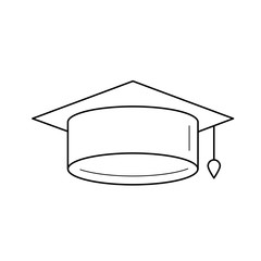 Graduation cap line icon isolated on white background. Vector line icon of graduation hat for infographic, website or app.