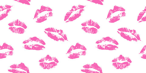 lips print pink seamless vector background