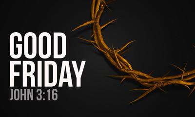 Good Friday John 3:16 Gold Crown of Thorns 3D Rendering