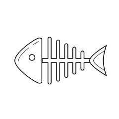 Rotten fish skeleton with bones vector line icon isolated on white background. Bone skeleton of rotten dead fish line icon for infographic, website or app.