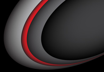 Abstract red gray line curve on black blank space for text design modern futuristic vector illustration.