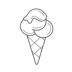 Ice cream cone vector line icon isolated on white background. Three scoops of ice cream in waffle cone line icon for infographic, website or app.